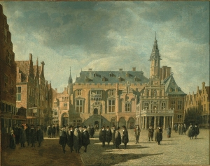 Gerrit_Adriaensz_Berckheyde_-_Haarlem_City_hall_with_figures_on_the_Grote_markt_-_1671_FHM_OS-I-10